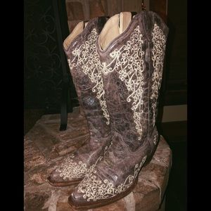 Corral Brown Crater Bone Embroidery Boot